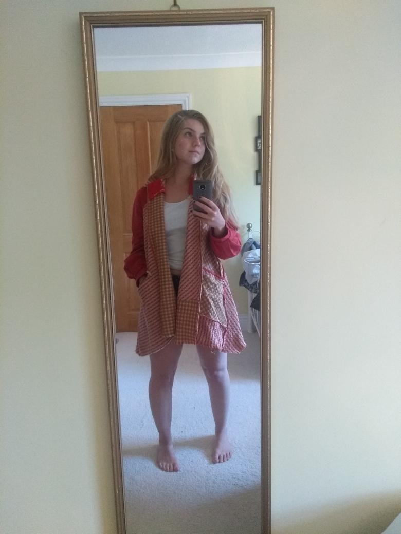 Customer Rebekah wearing her picnic coat