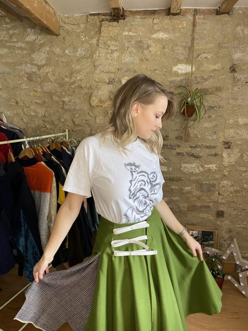 Close up of exclusive Circular Vintage Skirt