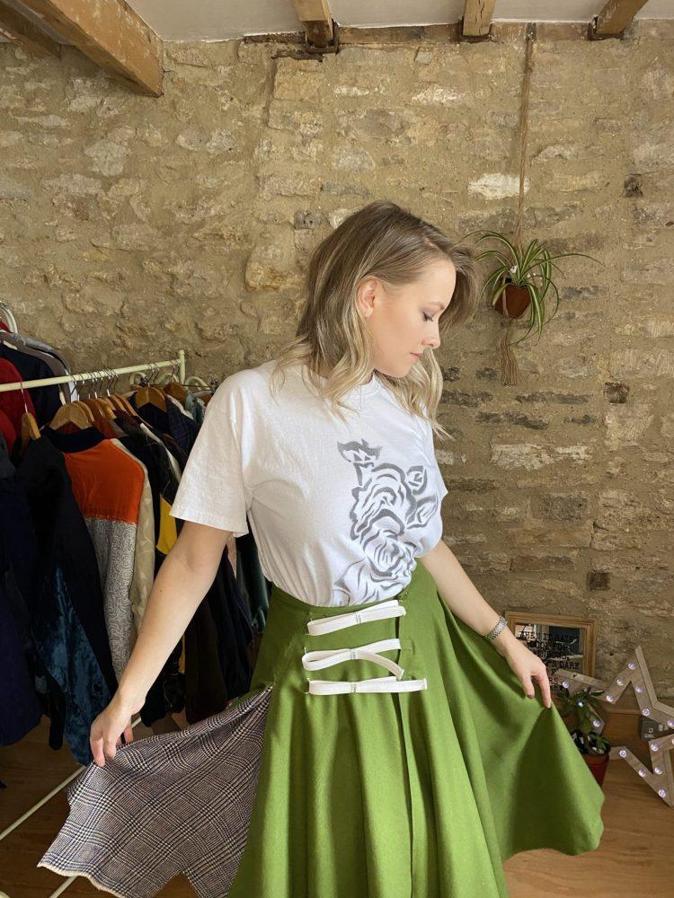 Close up of exclusive Circular Vintage Skirt