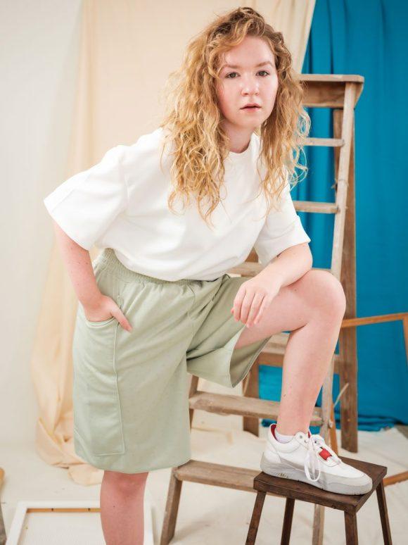 Green Boxing Shorts elasticated waistband long shorts deadstock materials
