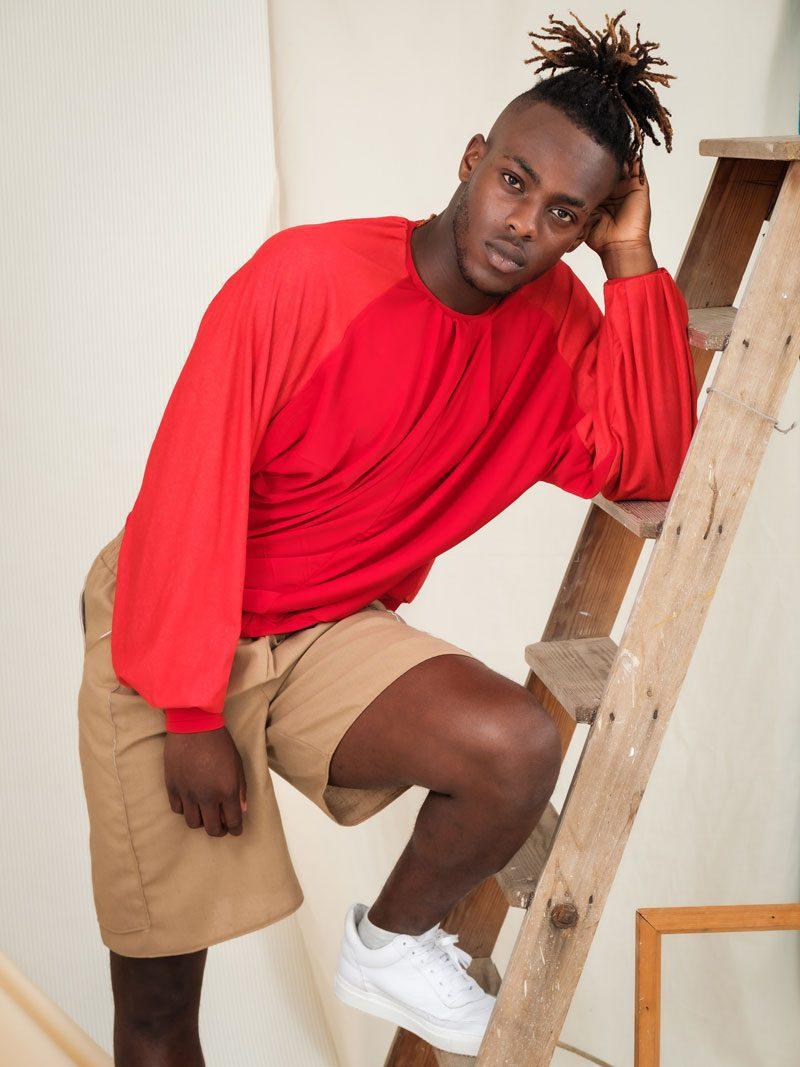 Red Batwing Jumper deadstock jersey sustainable streetwear