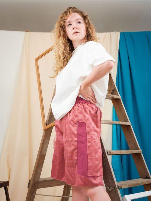Unisex Pink Jacquard Remnant Print Boxing Shorts