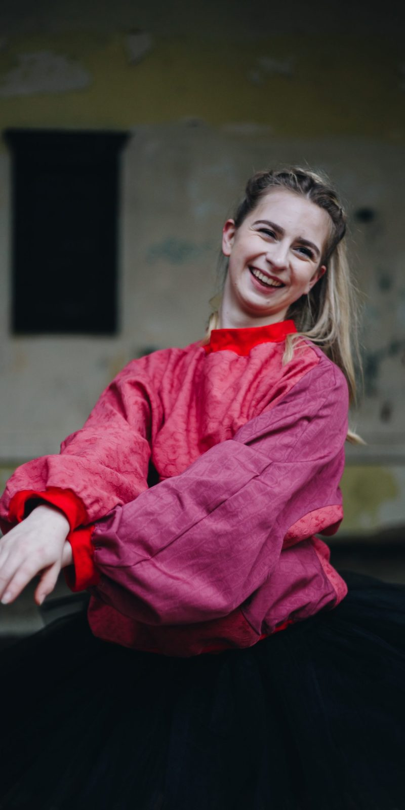 Dancer Grace Richardson poses in Upcycled Batwing Jumper for Daines Atelier Shop