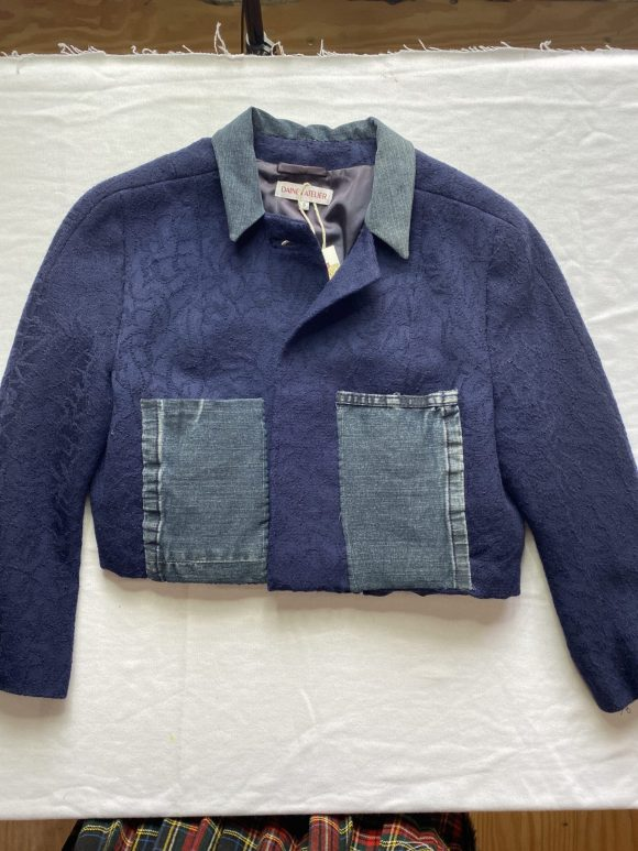 Upcycled vintage cropped jacket with denim collar and pockets