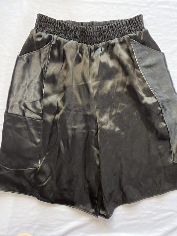Black satin long boxing shorts in black satin with elasticated waistband, luxury loungewear