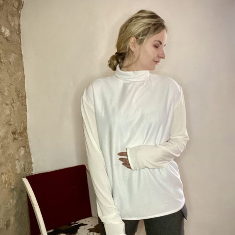 White turtleneck from remnant sweatshirt and cotton jersey