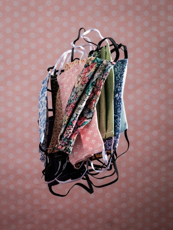 Floating Facemasks in vintage fabrics and floral patterns. Photography by Yousef Al Nasser