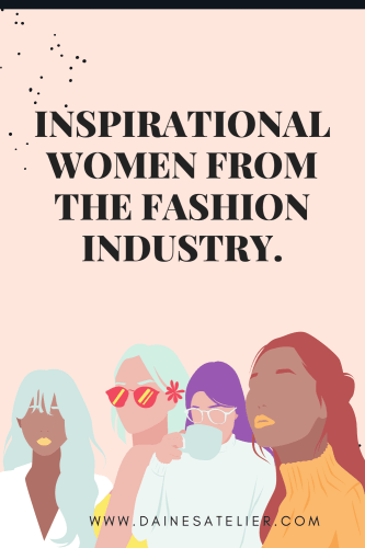 Inspirational women from the fashion industry Pinterest pin with woman illustrations