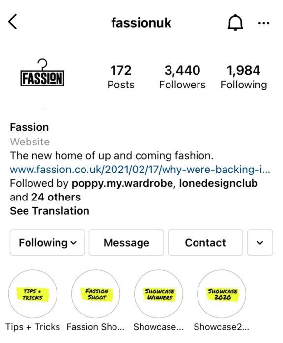 Screenshot of Fassion Instagram account showcasing creative designer