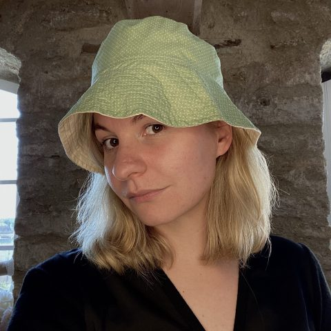 Bucket Hat made from remnant vintage materials. Eco Streetwear. Green Spots
