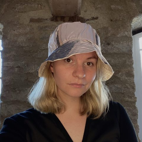 Bucket Hat made from remnant vintage materials. Eco Streetwear. Grey and purple silk