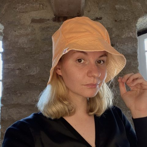 Bucket Hat made from remnant vintage materials. Eco Streetwear. Orange