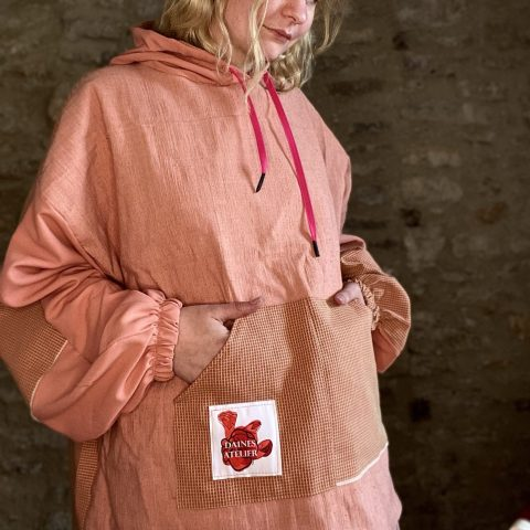 Pink Batwing Hoodie made from Deadstock Remnants
