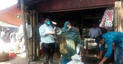 নন্দীগ্রামে করোনা সংক্রমণরোধে হাট ভেঙ্গে দিল প্রশাসন
