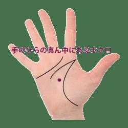 手のひらの真ん中にあるホクロ