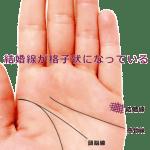 結婚線が網目のような格子状(グリル・格子紋)になっている手相