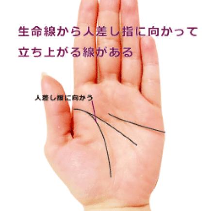 生命線から人差し指に向かって立ち上がる線(向上線・希望線)がある手相の見方 | 簡単な手相の見方を伝授し ...