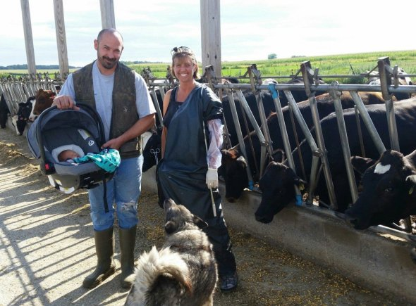 Although I was still hobbling around, Silas attended his first herd health at 5 days old.