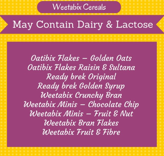 May Contain Milk Weetabix Products
