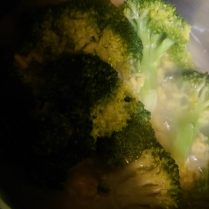 Broccoli cooking in with pasta