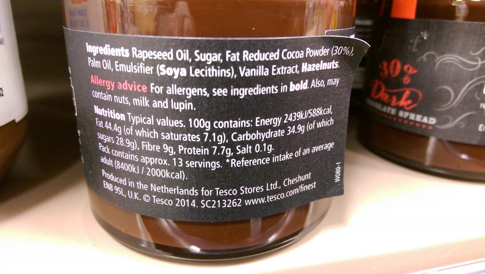 Tesco Finest 30 Dark Chocolate Spread Ingredients Dairy