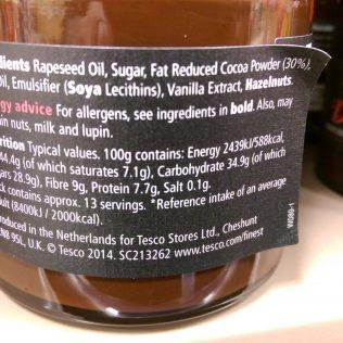 Tesco Finest 30% Dark Chocolate Spread Ingredients