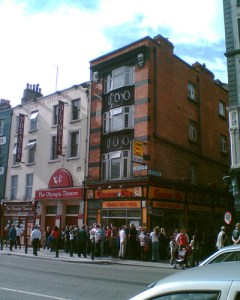 Queuing outside the Olympia
