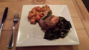 Dinner at Lowcountry Bistro - Cornish Hen with Collard Greens and Butternut Squash