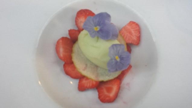 Dessert of Apple Sorbet over Strawberries