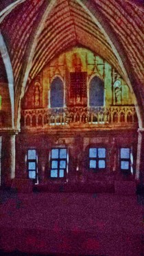 Gothic Crypt with Video of 15th Century Building Projected onto It