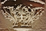 Stone Carving of Leaves in Kitchen