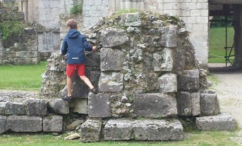Jumieges Abbey Boy Climbing on Ruins
