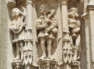 Musicians on Church Exterior