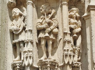Musicians on Church Exterior