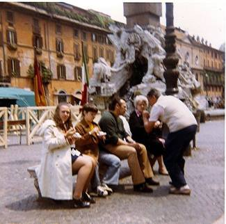 Therese in front of Fontana dei Quattro Fiumi with her Family in 1974
