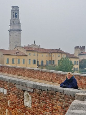 Therese on the Ponte Pietra with the Duomo in the Background, Verona