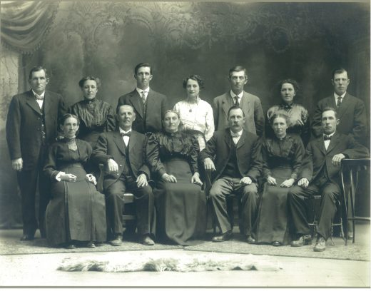 Mr. & Mrs. Xavier Junion with their 11 children (2nd & 3rd generations) Back Row (L to R) Joseph Junion, Clementine (Junion) Moreau, John Junion, Josephine (Junion) DeBaker, Fabian Junion, Adele (Junion) Wery, Norris Junion Front Row (L to R): Louise (Junion) Joniaux, Xavier Junion, Josephine (Mottard) Junion, Theophile Junion, Mary (Junion) Joniaux, Charles Junion
