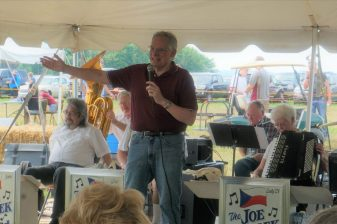 """Our long time emcee, Mike Austin and his """"corning"""" farm jokes are always a highlight of the breakfast!"""