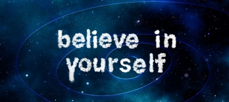 """When finding yourself you need these words """"believe in yourself"""". These words with a blue background are printed in white letters."""