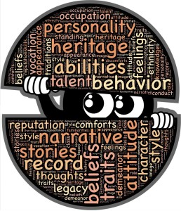 A circle with words about finding yourself. Personality, heritage, abilities, behavior, stories, record, beliefs. In the middle of the circle it is split and has two eyeballs looking out with its hands holding the circle apart.