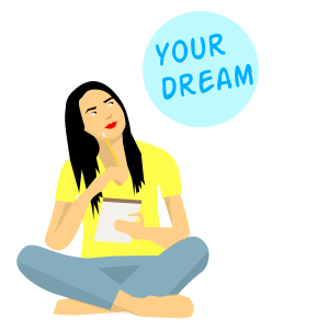 "girl in yellow shirt sitting cross-legged thinking with the caption ""your dream""."