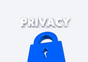 This picture picked for my Privacy Policy page for my blog. The word Privacy written above a picture of a padlock blue in color with a white background.