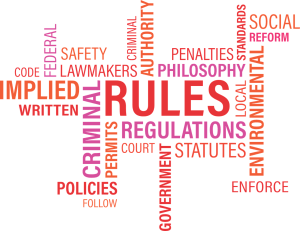 A white background with oange and purple wording in a crossword puzzle format. words include rule, regulations, statues , social, lawmakers, implied, written, enforce.