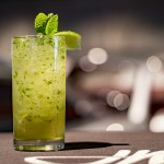 mojito drink with rum, lime, mint, and club soda