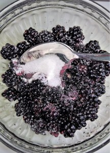 Blackberries and sugar in a bowl with a spoon.
