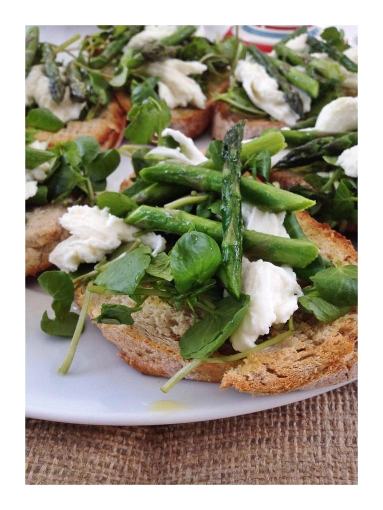 Asparagus & watercress bruschetta