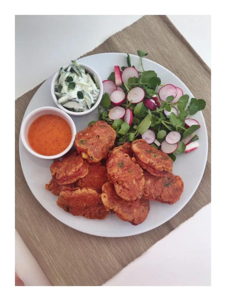 cauliflower fritter recipe, dodo chilli dipping sauce, mint raita recipe