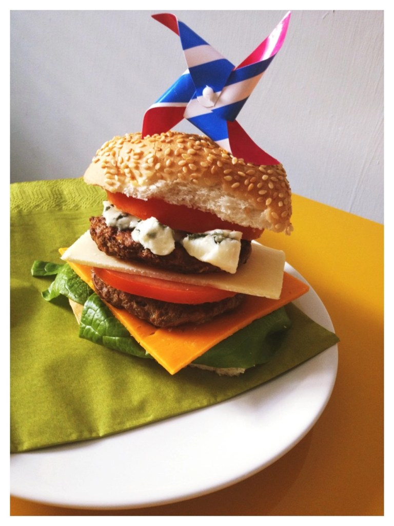 name is a bit cheesy, burger topping ideas, burger feast, lettuce, red leicester, tomato, mature cheddar, burger, roquefort, tomato
