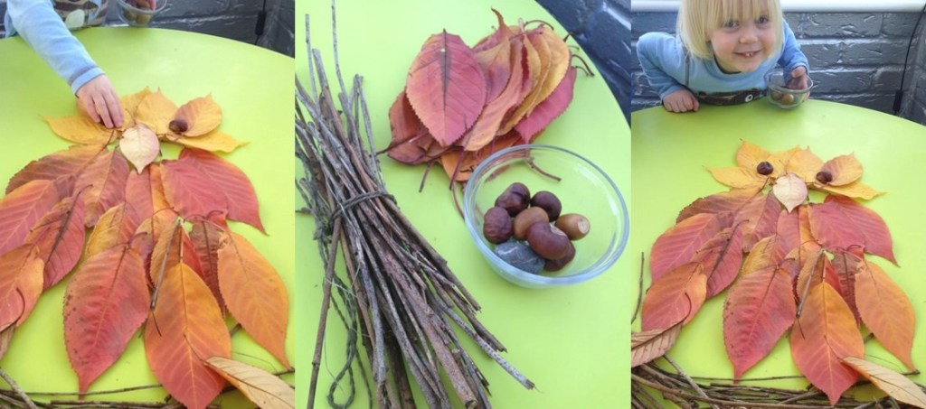natural art for kids, autumn leaf art projects for kids, making animals with autumn leaves