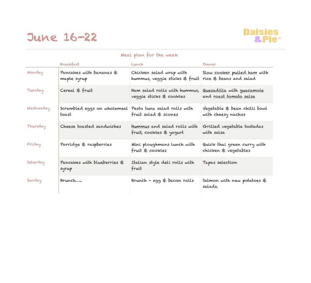 Family Meal Plan 16th June 2014
